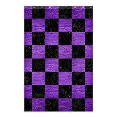 Square1 Black Marble & Purple Brushed Metal Shower Curtain 48  X 72  (small)  by trendistuff