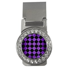 Square2 Black Marble & Purple Brushed Metal Money Clips (cz)  by trendistuff
