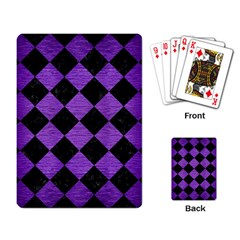 Square2 Black Marble & Purple Brushed Metal Playing Card by trendistuff