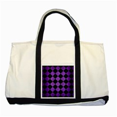 Square2 Black Marble & Purple Brushed Metal Two Tone Tote Bag by trendistuff
