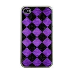 Square2 Black Marble & Purple Brushed Metal Apple Iphone 4 Case (clear) by trendistuff