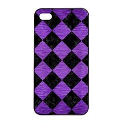 Square2 Black Marble & Purple Brushed Metal Apple Iphone 4/4s Seamless Case (black) by trendistuff