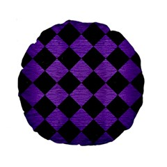 Square2 Black Marble & Purple Brushed Metal Standard 15  Premium Round Cushions by trendistuff