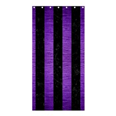 Stripes1 Black Marble & Purple Brushed Metal Shower Curtain 36  X 72  (stall)  by trendistuff