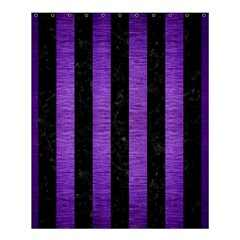 Stripes1 Black Marble & Purple Brushed Metal Shower Curtain 60  X 72  (medium)  by trendistuff
