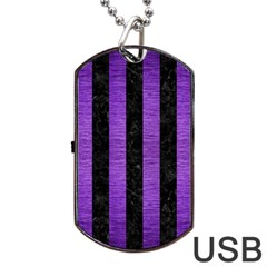 Stripes1 Black Marble & Purple Brushed Metal Dog Tag Usb Flash (two Sides) by trendistuff