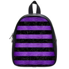 Stripes2 Black Marble & Purple Brushed Metal School Bag (small) by trendistuff