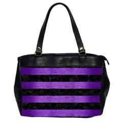 Stripes2 Black Marble & Purple Brushed Metal Office Handbags (2 Sides)  by trendistuff