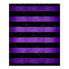 Stripes2 Black Marble & Purple Brushed Metal Shower Curtain 60  X 72  (medium)  by trendistuff