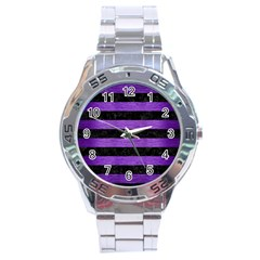 Stripes2 Black Marble & Purple Brushed Metal Stainless Steel Analogue Watch by trendistuff