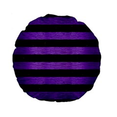 Stripes2 Black Marble & Purple Brushed Metal Standard 15  Premium Flano Round Cushions by trendistuff