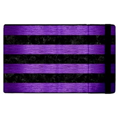 Stripes2 Black Marble & Purple Brushed Metal Apple Ipad Pro 12 9   Flip Case by trendistuff