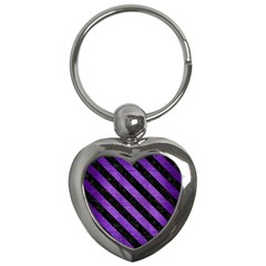 Stripes3 Black Marble & Purple Brushed Metal Key Chains (heart)  by trendistuff