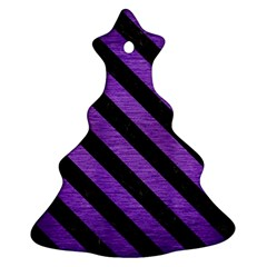 Stripes3 Black Marble & Purple Brushed Metal Ornament (christmas Tree)  by trendistuff