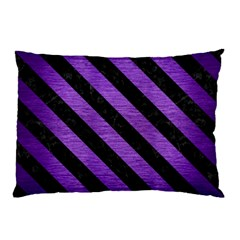 Stripes3 Black Marble & Purple Brushed Metal Pillow Case (two Sides) by trendistuff