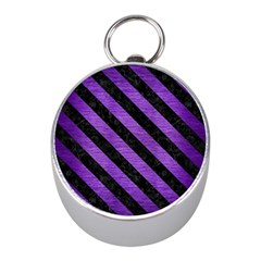 Stripes3 Black Marble & Purple Brushed Metal Mini Silver Compasses