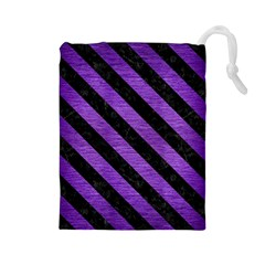 Stripes3 Black Marble & Purple Brushed Metal Drawstring Pouches (large)  by trendistuff