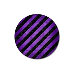 Stripes3 Black Marble & Purple Brushed Metal (r) Magnet 3  (round) by trendistuff