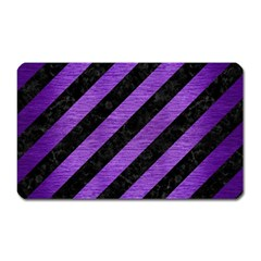 Stripes3 Black Marble & Purple Brushed Metal (r) Magnet (rectangular) by trendistuff