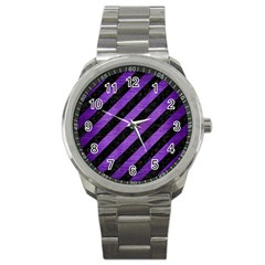 Stripes3 Black Marble & Purple Brushed Metal (r) Sport Metal Watch by trendistuff