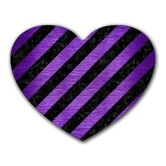 Stripes3 Black Marble & Purple Brushed Metal (r) Heart Mousepads by trendistuff
