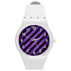 Stripes3 Black Marble & Purple Brushed Metal (r) Round Plastic Sport Watch (m) by trendistuff