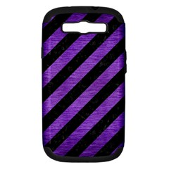Stripes3 Black Marble & Purple Brushed Metal (r) Samsung Galaxy S Iii Hardshell Case (pc+silicone) by trendistuff