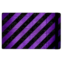 Stripes3 Black Marble & Purple Brushed Metal (r) Apple Ipad Pro 9 7   Flip Case by trendistuff