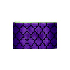 Tile1 Black Marble & Purple Brushed Metal Cosmetic Bag (xs) by trendistuff