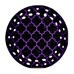 Tile1 Black Marble & Purple Brushed Metal (r) Ornament (round Filigree) by trendistuff