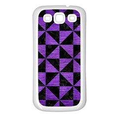 Triangle1 Black Marble & Purple Brushed Metal Samsung Galaxy S3 Back Case (white) by trendistuff