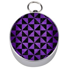 Triangle1 Black Marble & Purple Brushed Metal Silver Compasses by trendistuff