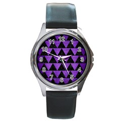 Triangle2 Black Marble & Purple Brushed Metal Round Metal Watch by trendistuff