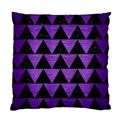 Triangle2 Black Marble & Purple Brushed Metal Standard Cushion Case (two Sides) by trendistuff