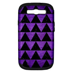 Triangle2 Black Marble & Purple Brushed Metal Samsung Galaxy S Iii Hardshell Case (pc+silicone) by trendistuff