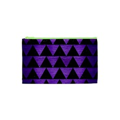 Triangle2 Black Marble & Purple Brushed Metal Cosmetic Bag (xs) by trendistuff