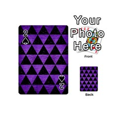 Triangle3 Black Marble & Purple Brushed Metal Playing Cards 54 (mini)  by trendistuff