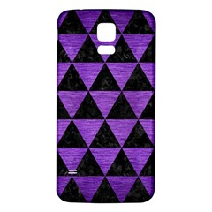 Triangle3 Black Marble & Purple Brushed Metal Samsung Galaxy S5 Back Case (white) by trendistuff