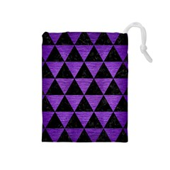 Triangle3 Black Marble & Purple Brushed Metal Drawstring Pouches (medium)  by trendistuff