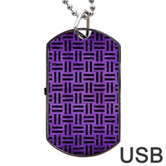 Woven1 Black Marble & Purple Brushed Metal Dog Tag Usb Flash (two Sides) by trendistuff