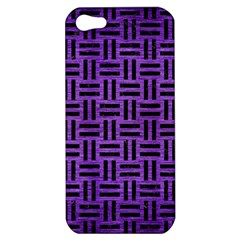 Woven1 Black Marble & Purple Brushed Metal Apple Iphone 5 Hardshell Case by trendistuff