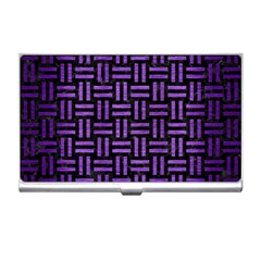Woven1 Black Marble & Purple Brushed Metal (r) Business Card Holders by trendistuff