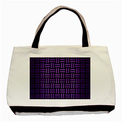 Woven1 Black Marble & Purple Brushed Metal (r) Basic Tote Bag (two Sides) by trendistuff