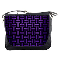 Woven1 Black Marble & Purple Brushed Metal (r) Messenger Bags by trendistuff