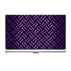 Woven2 Black Marble & Purple Brushed Metal (r) Business Card Holders