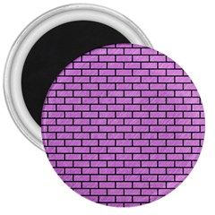 Brick1 Black Marble & Purple Colored Pencil 3  Magnets by trendistuff