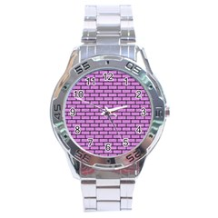 Brick1 Black Marble & Purple Colored Pencil Stainless Steel Analogue Watch by trendistuff
