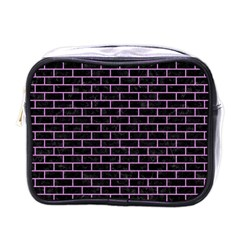 Brick1 Black Marble & Purple Colored Pencil (r) Mini Toiletries Bags by trendistuff