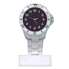 Brick1 Black Marble & Purple Colored Pencil (r) Plastic Nurses Watch by trendistuff