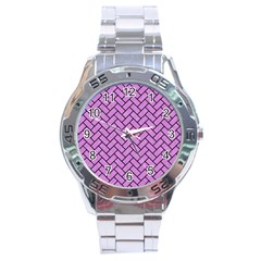 Brick2 Black Marble & Purple Colored Pencil Stainless Steel Analogue Watch by trendistuff